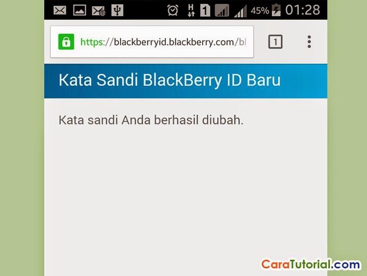 Kata sandi blackberry id baru berhasil di ubah