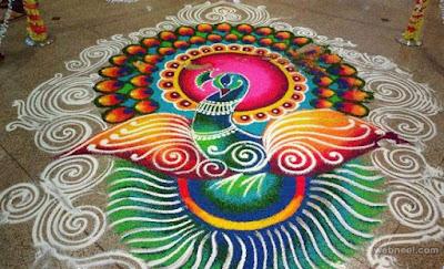 Happy New Year Rangoli Peacock Design