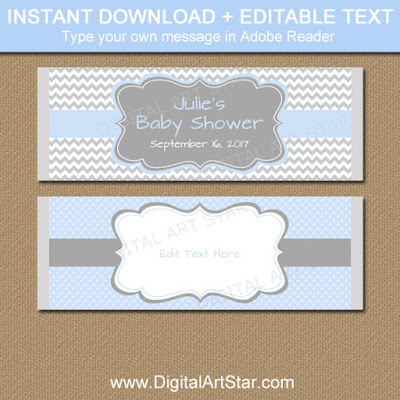baby boy shower candy bar wrappers - party favor ideas