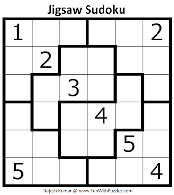 Jigsaw Sudoku Puzzle (Mini Sudoku Series #110)