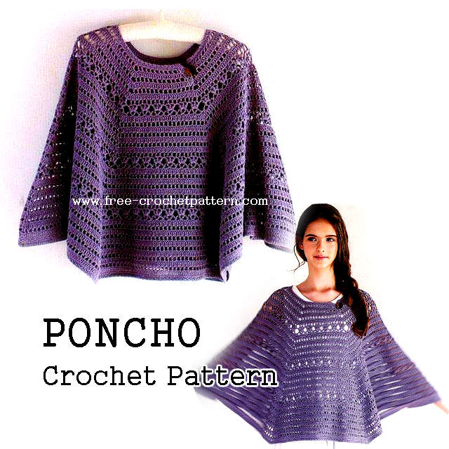 Crochet poncho pattern . printable