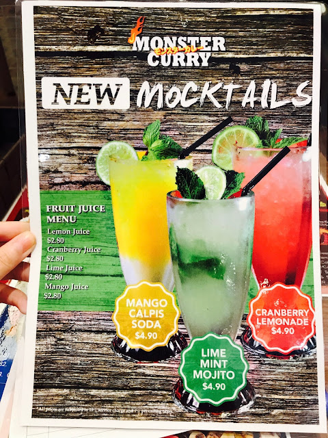 Monster Curry (Suntec City) - Mocktail Menu