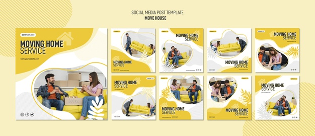 Instagram post collection for house relocation services Free Psd