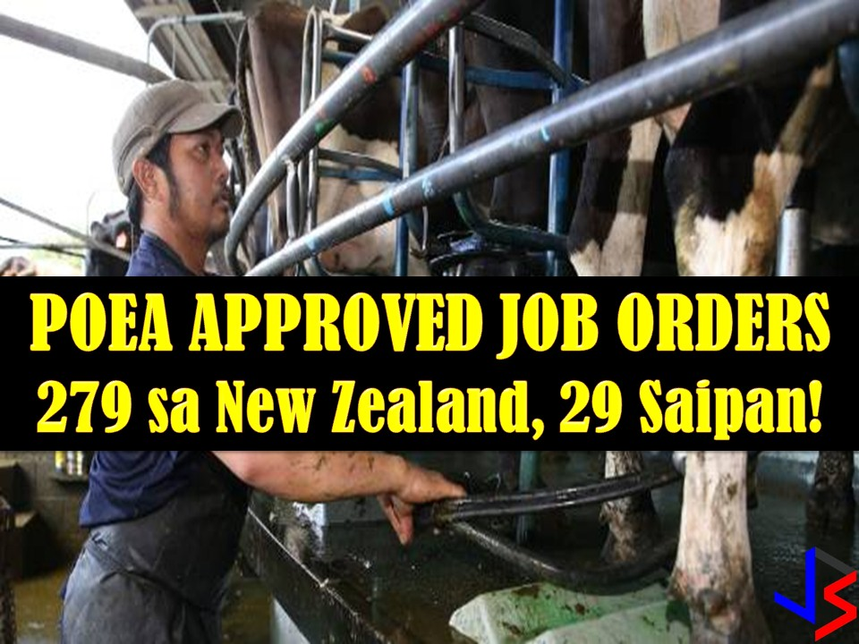 This December 2017, the Philippine Overseas Employment Administration (POEA) has approved many job orders for New Zealand and Saipan. Scroll down to see the listing with information of recruitment agencies where the interested applicant may apply.   279 jobs orders are now open for Overseas Filipino Workers (OFW) in New Zealand and 29 jobs orders are open in Saipan. This is the latest job order to the said country that is approved by Philippine Overseas Employment Administration (POEA).  Below are the 18 recruitment agencies with job orders from POEA to New Zealand and Saipan. Please reminded that we are not recruitment agencies, all information in this article is taken from POEA website and being sort out for much easier use. The contact information of recruitment agencies is also listed. Interested applicant may directly contact the agencies' representative for more information and for the application. Any transaction entered with the following recruitment agencies is at applicants risk and account.
