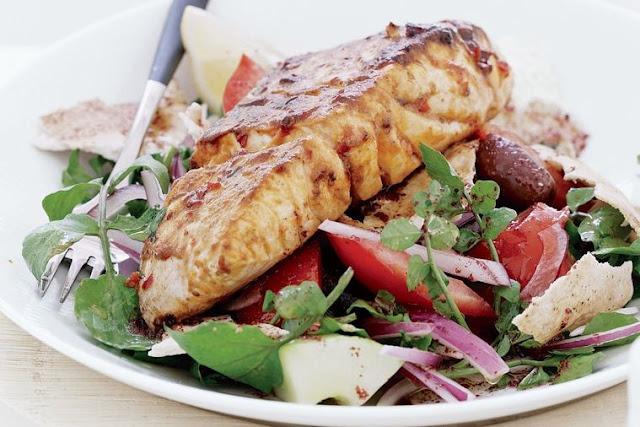 tablespoons lemon juice in ceramic dish Harissa fish with fattoush recipe