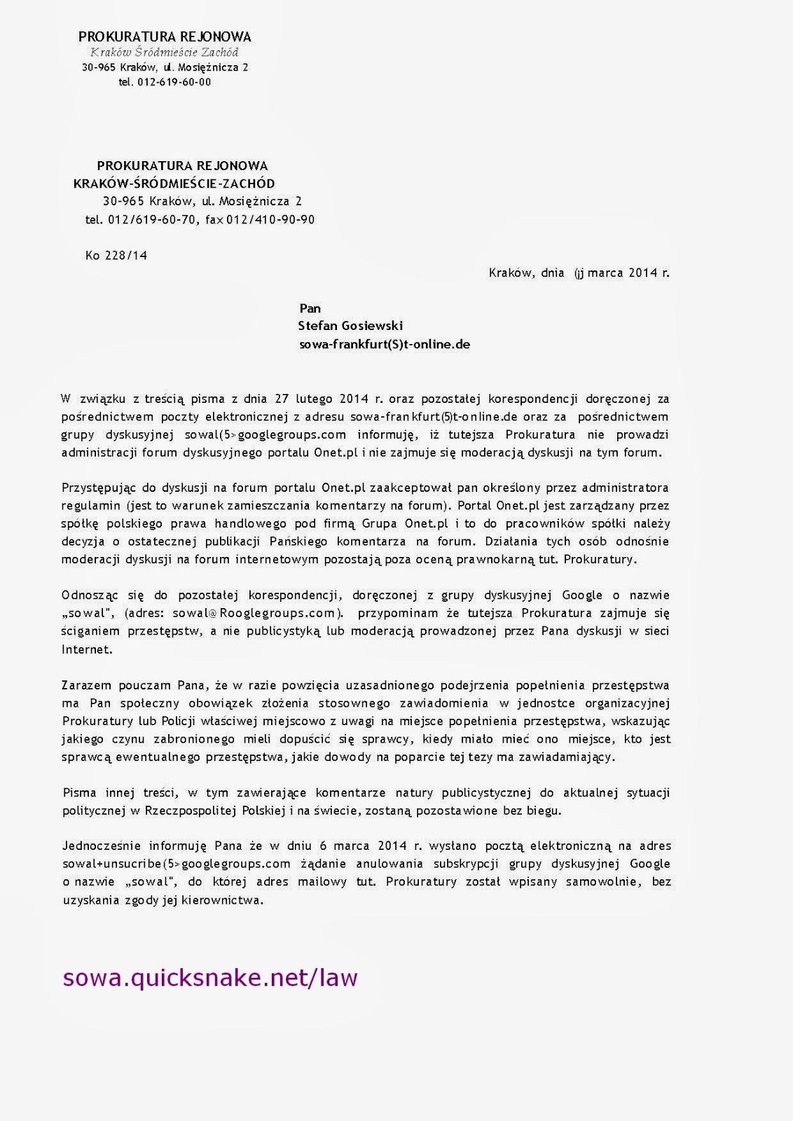 Antypanstwowy Majdan Fo315 Stefan Kosiewski Do Prokuratury Okregowej