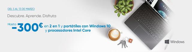 Mejores ofertas Hasta -300 € en 2 en 1 y portátiles con Windows 10 y procesadores Intel Core de Fnac
