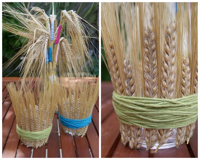 DIY Teelichtgläser und Getreidestrauß mit Ähren