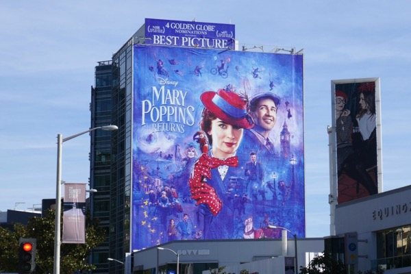 Mary Poppins Returns Golden Globe nominee billboard