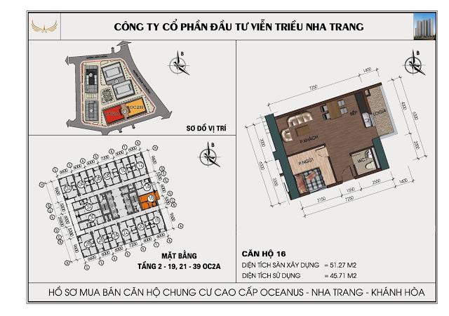 Sơ đồ căn hộ số 16 tòa OC2A Viễn Triều Nha Trang