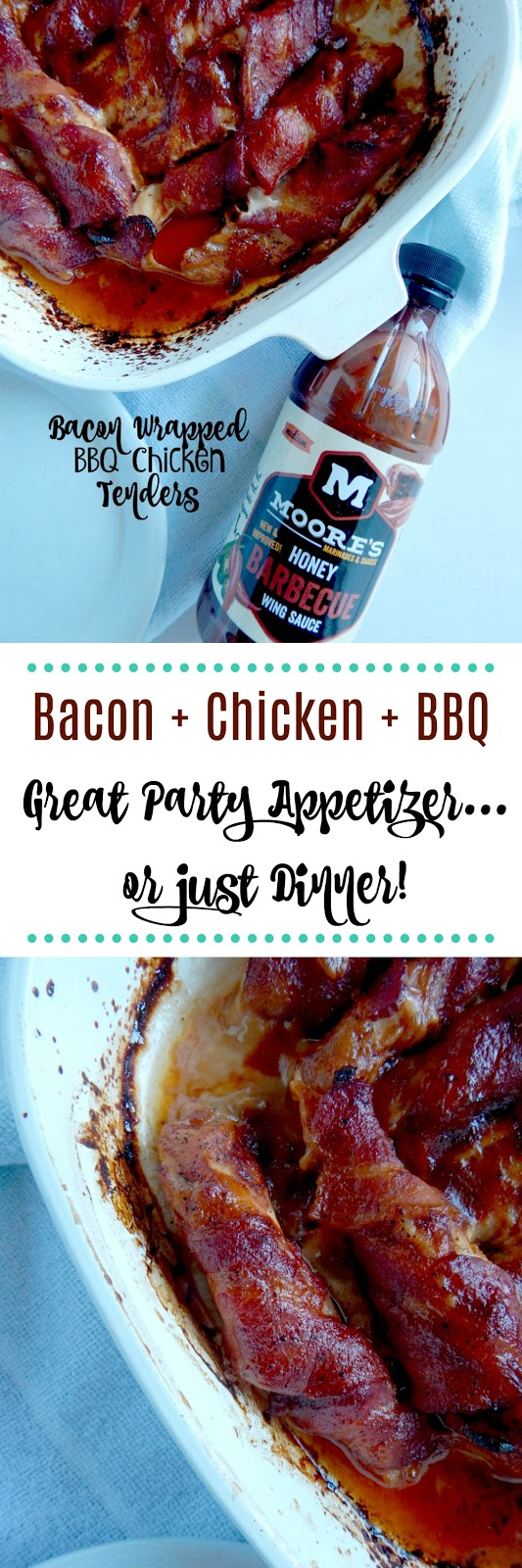 Bacon Wrapped BBQ Chicken Tenders...the perfect party appetizer or great for dinner alone!  Sweet, spicy, salty and sticky chicken wrapped in bacon and slathered with a sweet glaze. (sweetandsavoryfood.com)