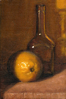 Oil painting of a lemon beside a small, long-necked glass bottle.