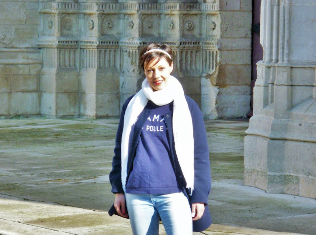 Look Mode manteau bleu marine promod sweat maman poule