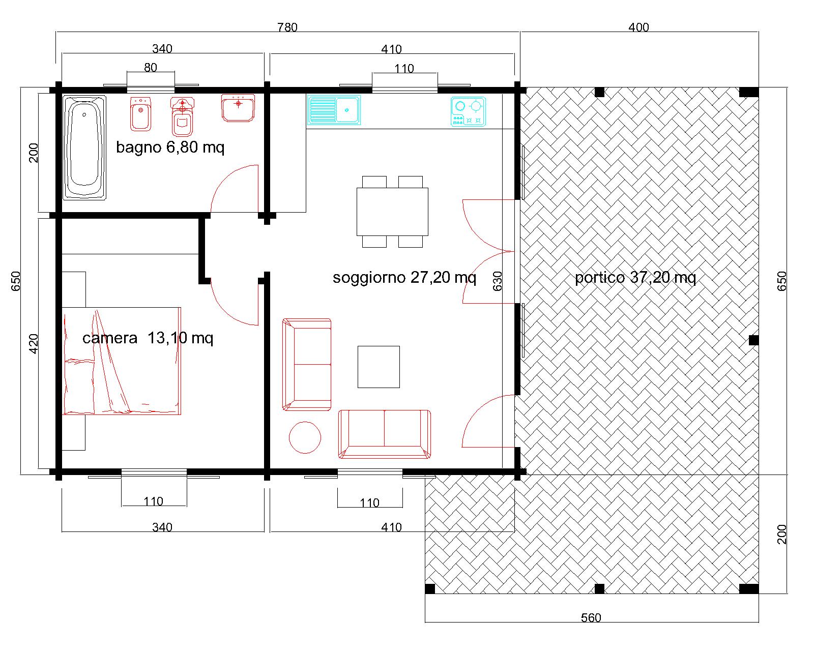 Progetti di case in legno casa 51 mq portico 37 mq for Progetto casa 40 mq