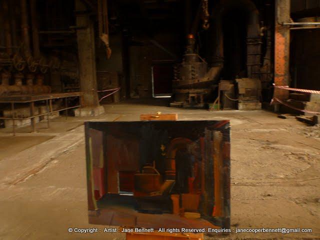 oil painting of boilers in interior of White Bay Power Station by artist Jane Bennett