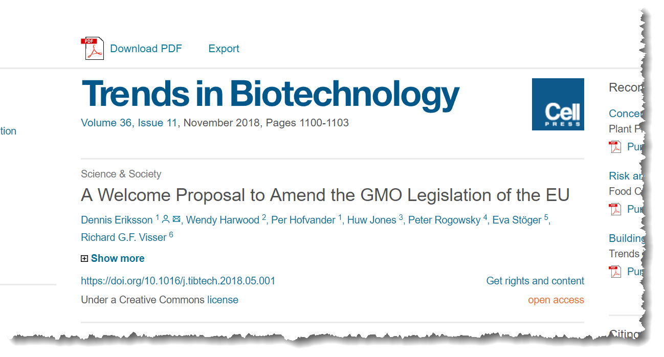 A Welcome Proposal to Amend the GMO Legislation of the EU