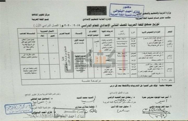 توزيع منهج اللغة العربية الصف الثاني الاعدادي 2020 الترم الأول