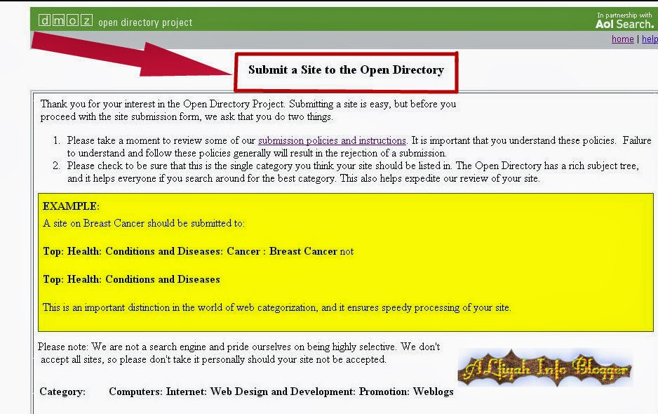Sumbite-a-site-to-the-open-directory-in-blogger