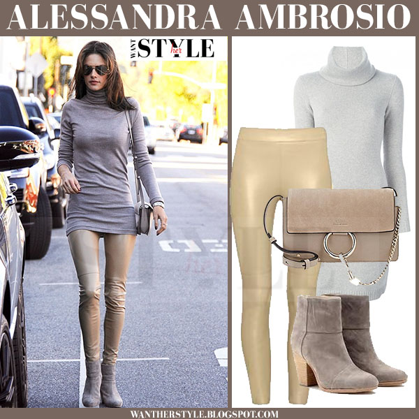 5e699d853c Alessandra Ambrosio in grey turtleneck sweater dress ralph lauren and beige  leather leggings wolford what she