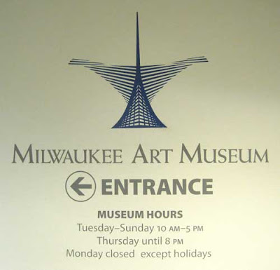 Milwaukee Art Museum logo and enter sign