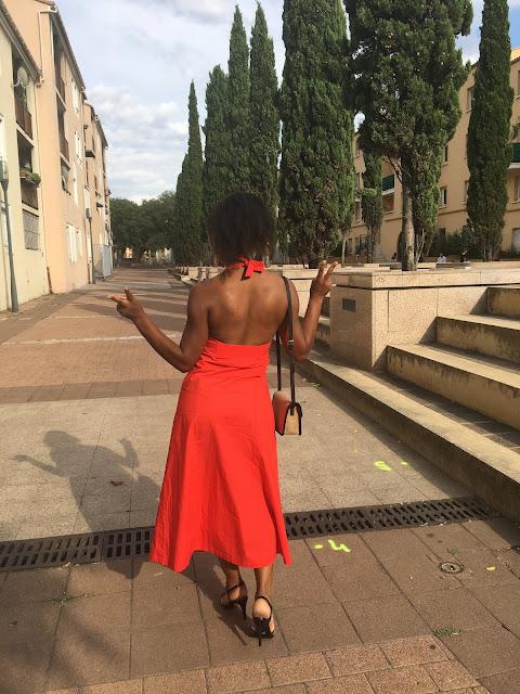 robe monoprix, monoprix, robe rouge, robe dos nu, robe longue, robe sexy, robe boutonnière, porter une robe rouge