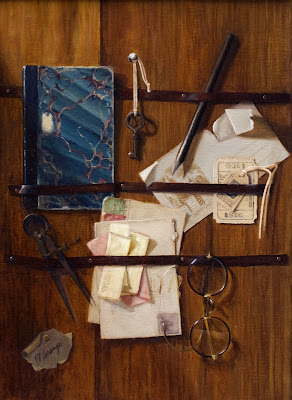 trompe l'oeil painting, papers, vintage glasses, notebook, paper ephemera