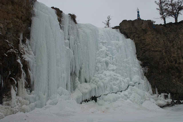 The Orkhon Waterfall frozen in winter, Ovorkhangai Aimag, Mongolia
