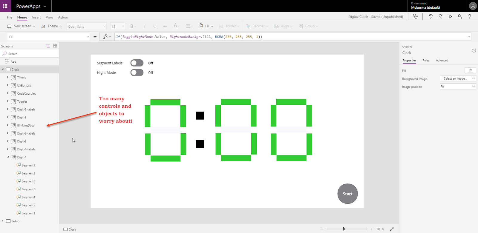 PowerApps: Using Components to create a Digital Clock - Part