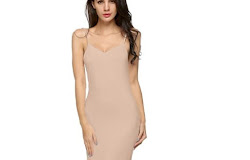 7b0c892ea9 Ekouaer Ladies Women Casual Sexy Strap Slip Sleeveless V-Neck Solid Home  Bottoming Straight Dress Size S-XL Dresses Vestidos