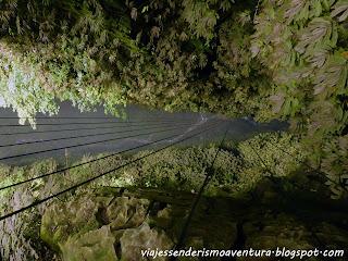 Cuevas de Waitomo - Mirando hacia abajo en el rápel de 100 metros