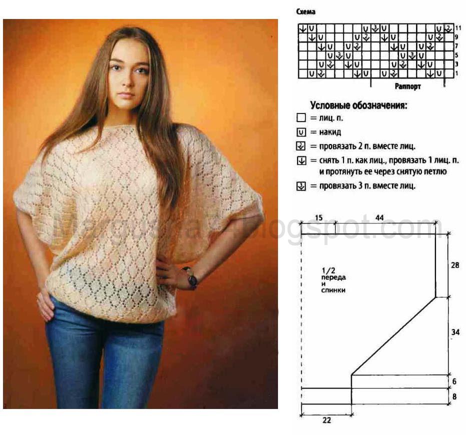 ажурный пуловер спицами модели схема и описание