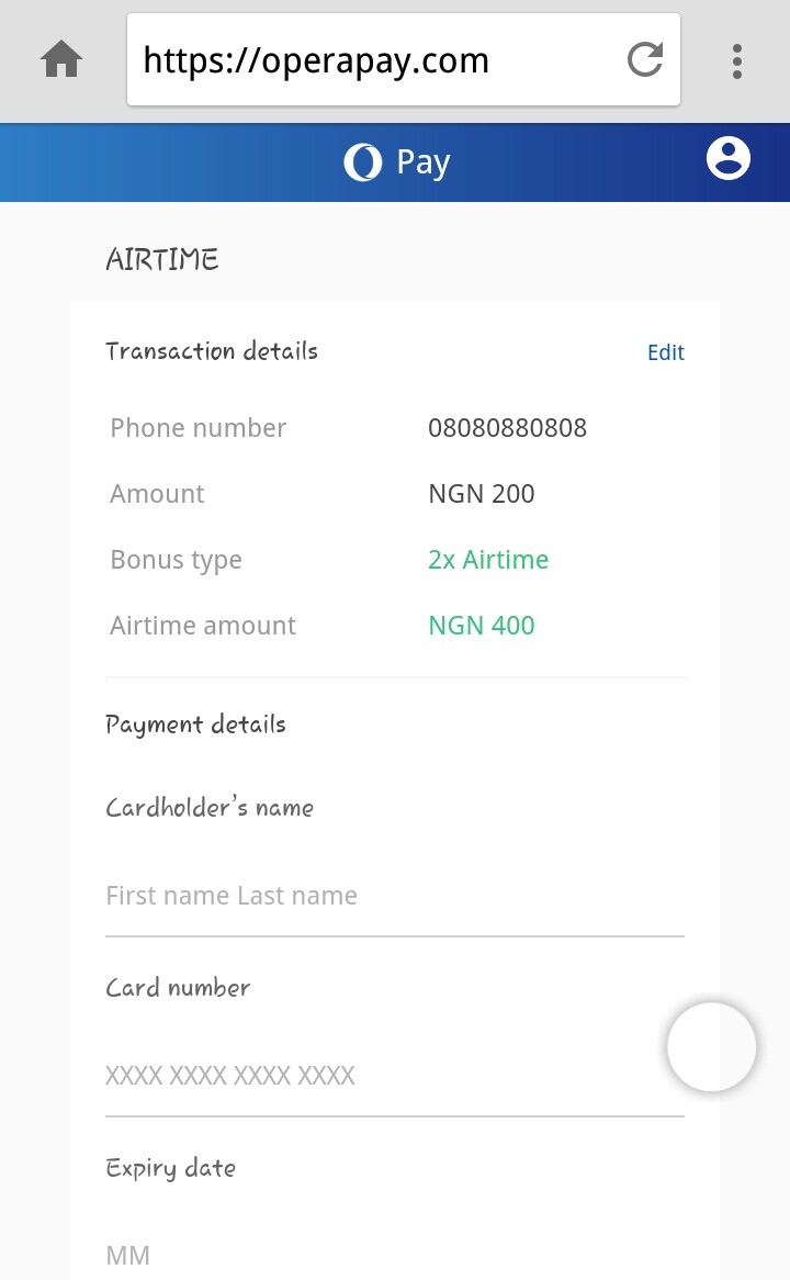 Opera Pay: How To Enjoy 100% Additional Bonus Of Airtime On All Network