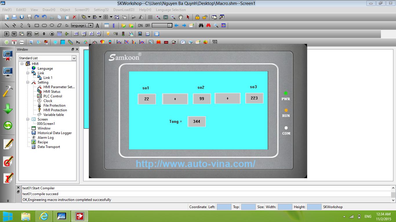 Hình ảnh khi mô phỏng màn hình Samkoon SK-043AE thực hiện chương trình Macro đã viết