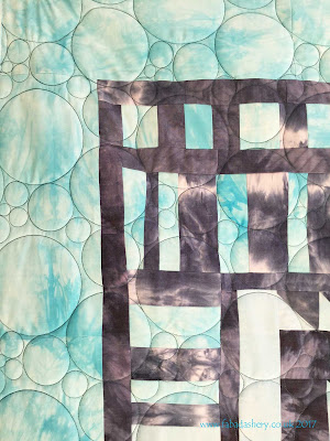 Jacqui's hand dyed quilt  with 'Circle Play' digital quilt pantograph designed by Patricia Ritter
