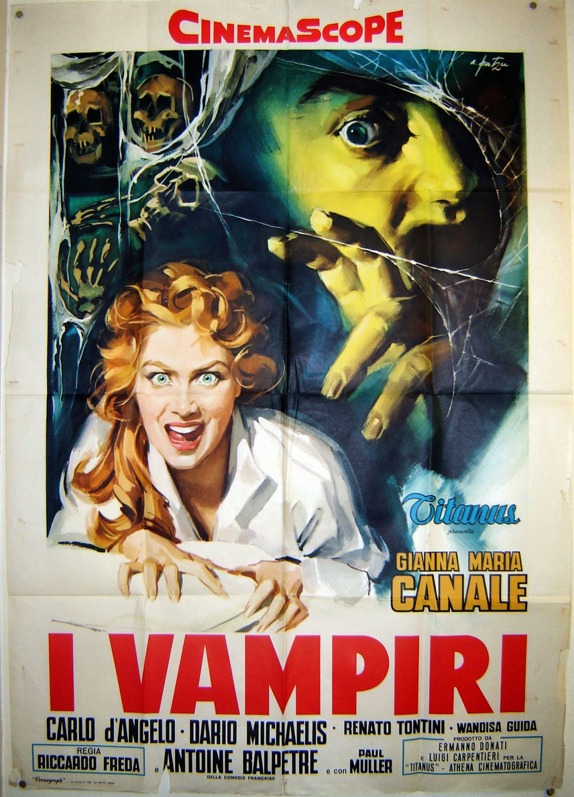 Italian Film Poster For Mario Bava's Lust Of The Vampire with stunning female vampire in the foreground and a spooky man grasping for her in the background.