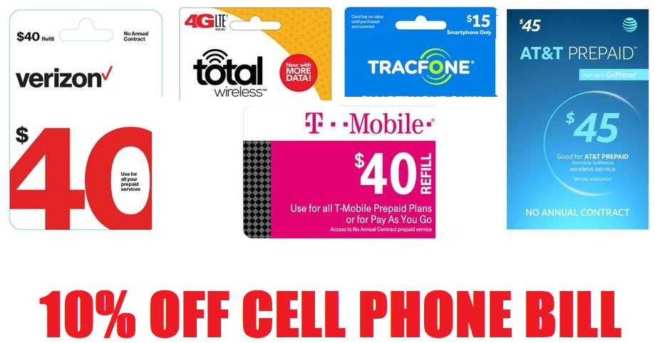10% off all Prepaid Digital Airtime Phone Refill Cards From