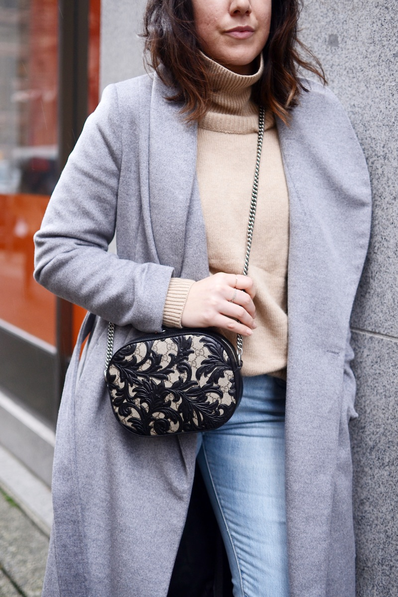 Aritzia turtleneck sweater Le Chateau wrap coat Gucci Arabesque vancouver fashion blogger