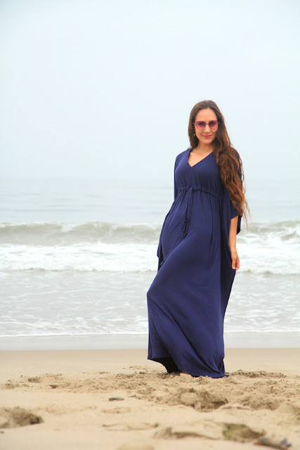 Navy Blue Kaftan Maxi Dress by Mademoiselle Mermaid