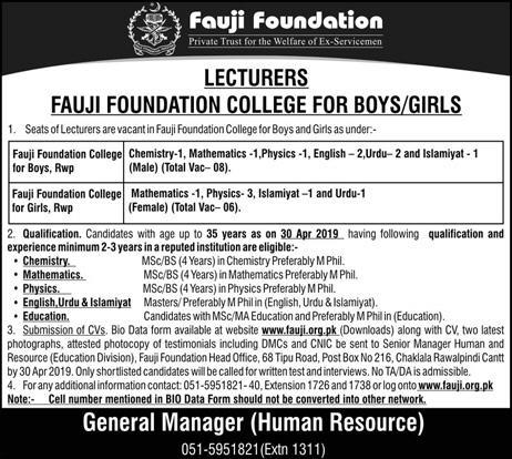 Jobs in Fauji Foundation College Rawalpindi - Fauji Foundation College Jobs  2019 April for Lecturer
