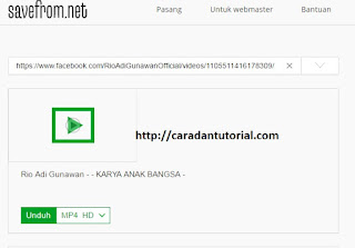 Save video menggunakan savefrom.net