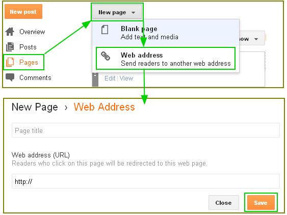 구글블로그 사용법: 페이지(pages) 특정페이지로 리다이렉트 하기