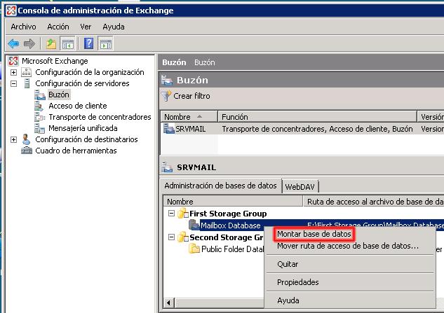 Microsoft Exchange 2007 Montar almacén