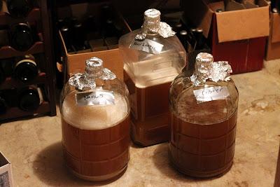 Three fermentors of 100% Brett beer.