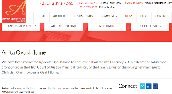 anita oyakhilome and Chris Oyakhilome divorce