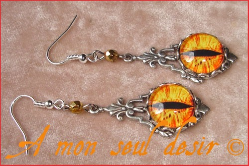 Boucles d'Oreilles Yeux de Dragon Jaune Oeil de Sauron Tolkien Yellow Gold Smaug Mordor Eyes Earrings