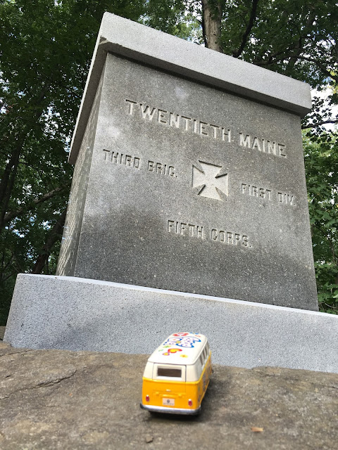 The yellow van at the marker for the 20th Main on Little Roundtop at Gettysburg