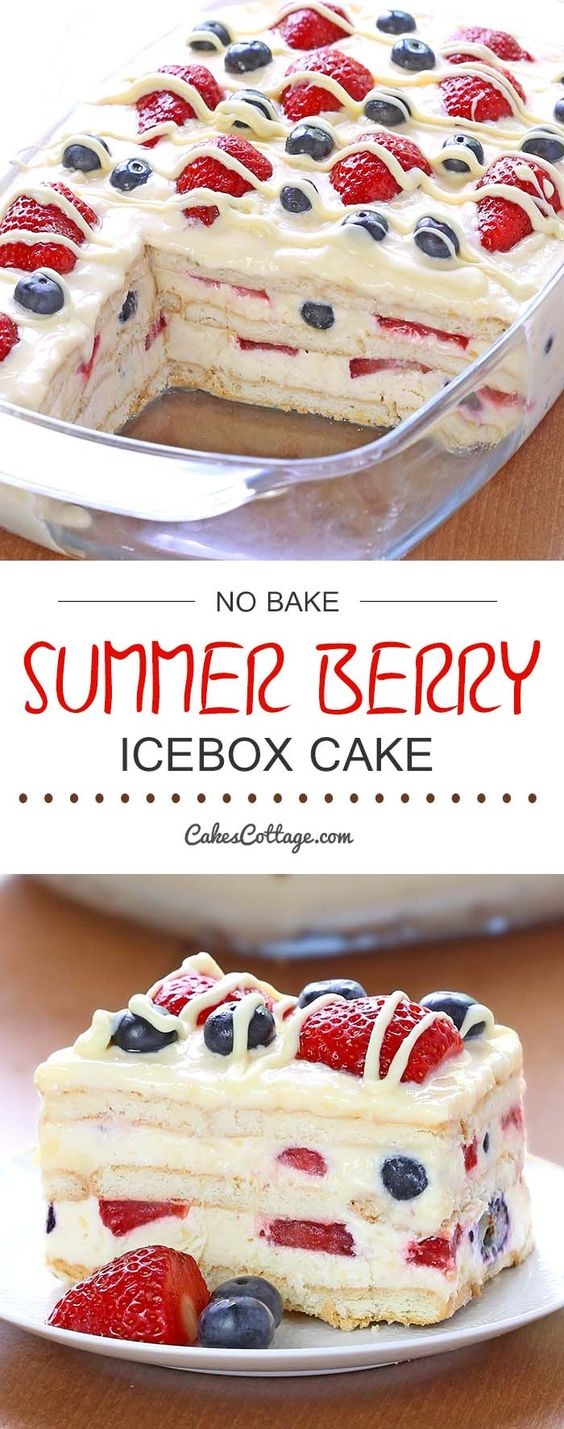 Looking for a quick and easy Summer dessert recipe? Try out delicious No Bake Summer Berry Icebox Cake ! #dessert