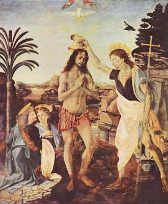 El bautismo de Cristo, Da Vinci, pinturas, arte