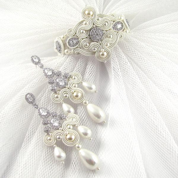 Komplet luksusowej biżuterii ślubnej sutasz.