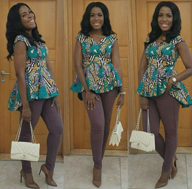 Linda Ikeji on beautiful Ankara top